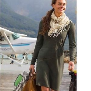 Athleta Sunburst Organic Cotton Green Dress XSP